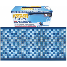 80 FEET Do-It-Yourself Designer 9in Crystal Blue Pattern Borderlines Pool Makeover Kit